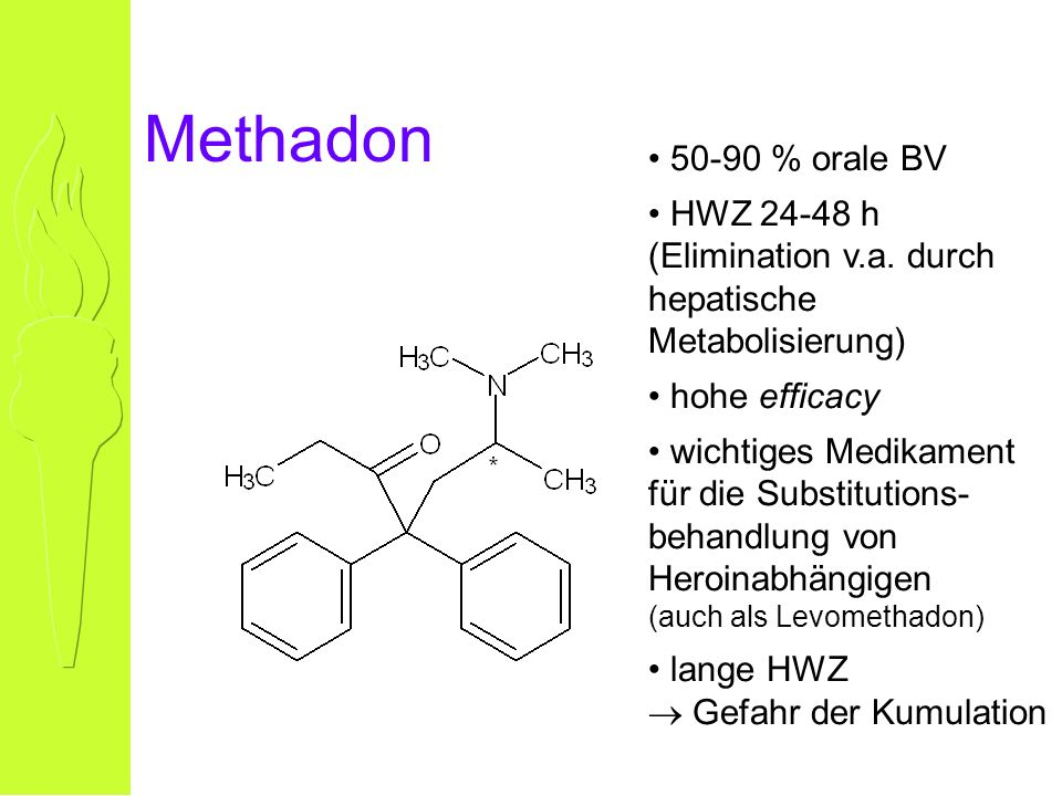 Methadon 50-90 % orale BV HWZ 24-48 h (Elimination v.a.