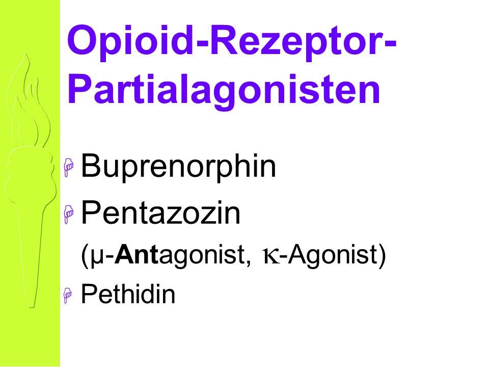 Opioid-Rezeptor- Partialagonisten H Buprenorphin H Pentazozin (µ-Antagonist, -Agonist) H Pethidin