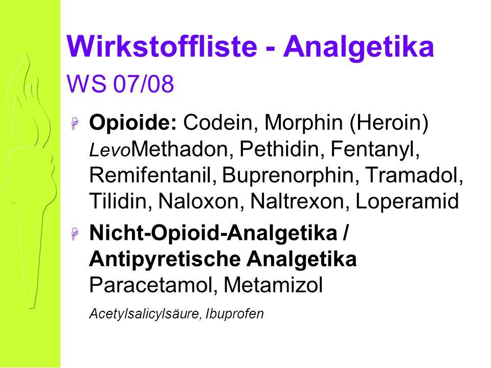 Opioid-Wirkungen IV: peripher Obstipation Harnverhalt Gallenverhalt Histamin-Freisetzung: Bronchokonstriktion Blutdruckabfall