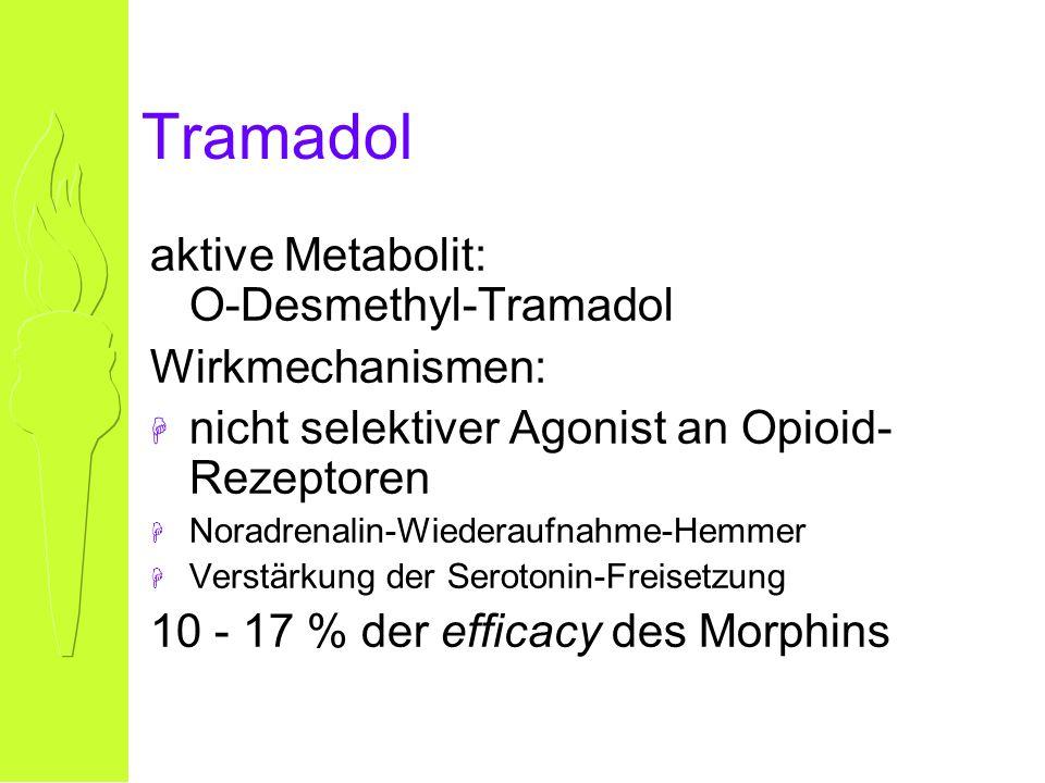 Tramadol aktive Metabolit: O-Desmethyl-Tramadol Wirkmechanismen: H nicht selektiver Agonist an Opioid- Rezeptoren H Noradrenalin-Wiederaufnahme-Hemmer H Verstärkung der Serotonin-Freisetzung 10 - 17 % der efficacy des Morphins