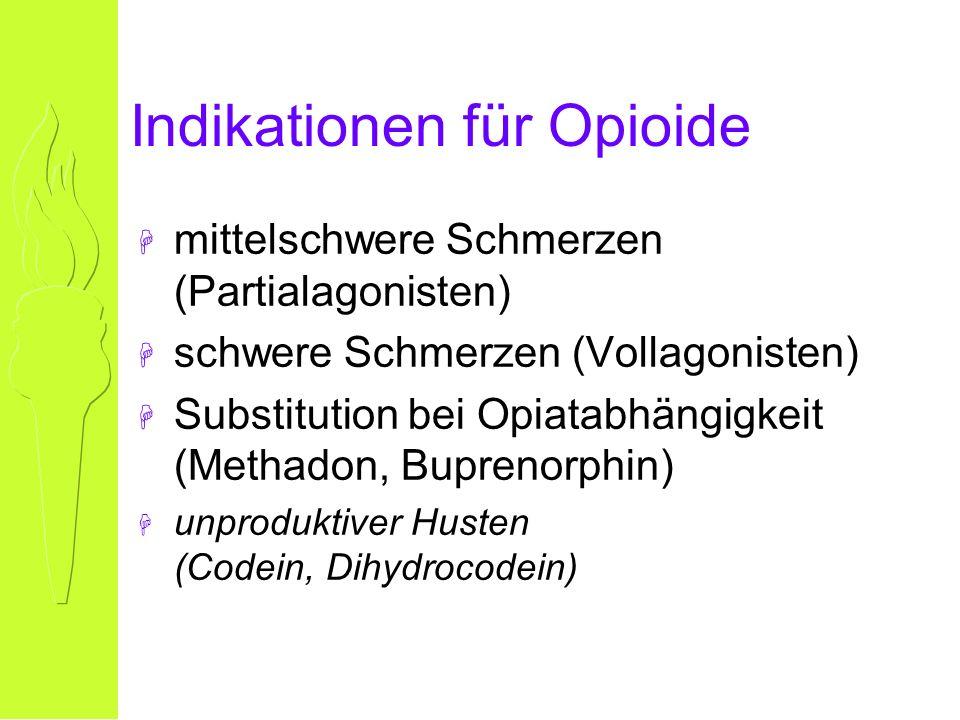 Indikationen für Opioide H mittelschwere Schmerzen (Partialagonisten) H schwere Schmerzen (Vollagonisten) H Substitution bei Opiatabhängigkeit (Methadon, Buprenorphin) H unproduktiver Husten (Codein, Dihydrocodein)