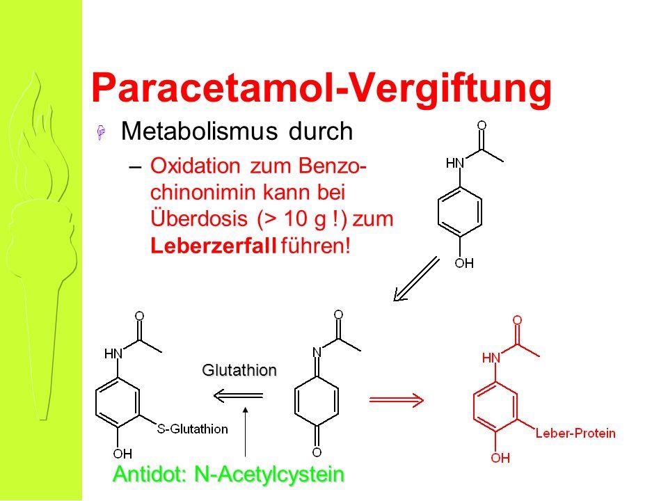 Paracetamol-Vergiftung H Metabolismus durch –Oxidation zum Benzo- chinonimin kann bei Überdosis (> 10 g !) zum Leberzerfall führen.