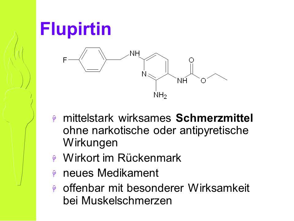 Flupirtin H mittelstark wirksames Schmerzmittel ohne narkotische oder antipyretische Wirkungen H Wirkort im Rückenmark H neues Medikament H offenbar mit besonderer Wirksamkeit bei Muskelschmerzen