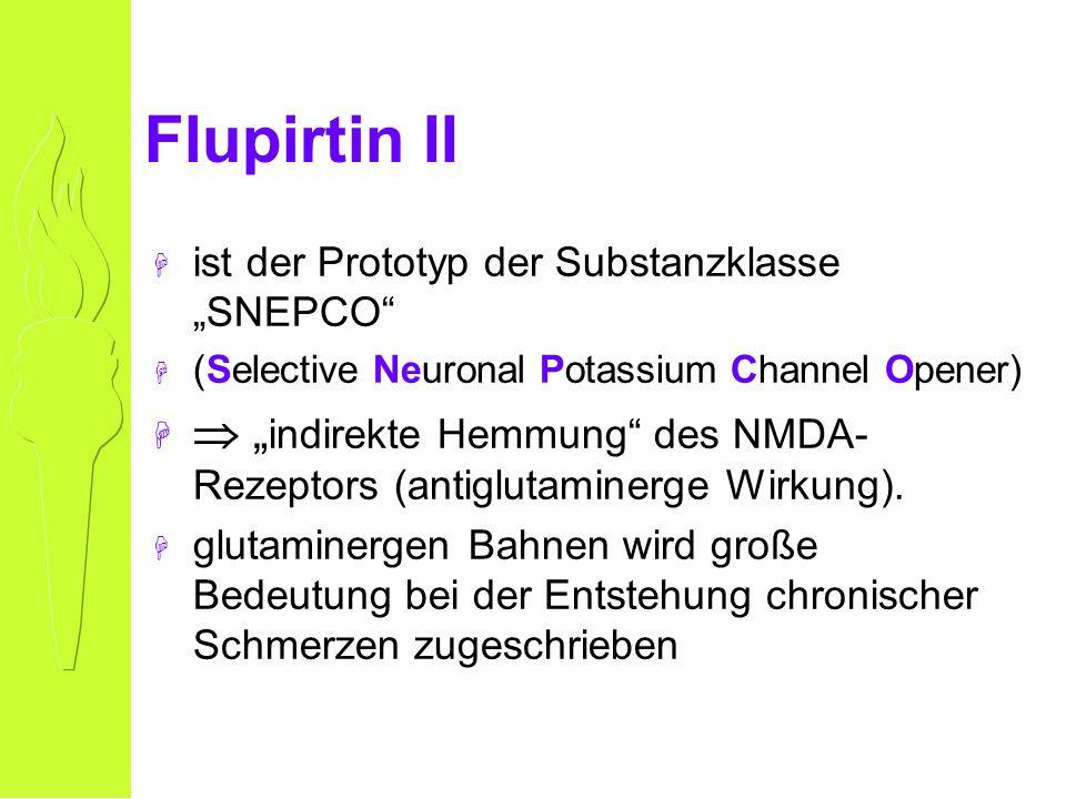 Flupirtin II H ist der Prototyp der Substanzklasse SNEPCO H (Selective Neuronal Potassium Channel Opener) H indirekte Hemmung des NMDA- Rezeptors (antiglutaminerge Wirkung).