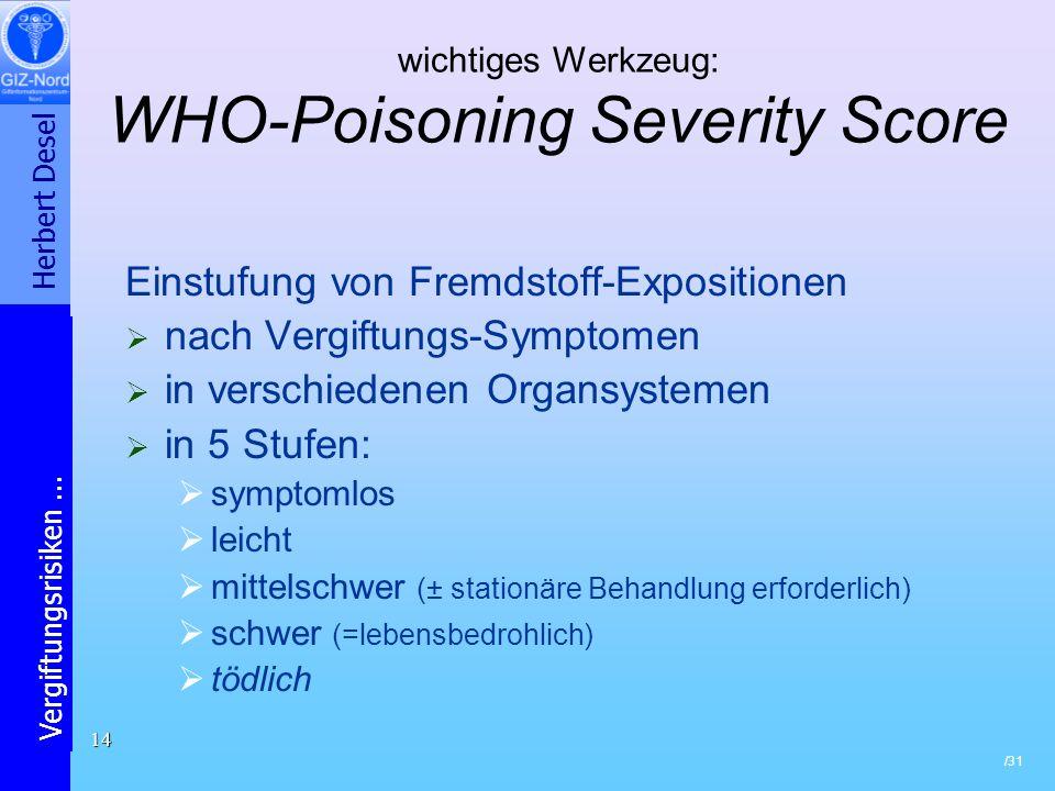 Herbert Desel Vergiftungsrisiken... /31 14 wichtiges Werkzeug: WHO-Poisoning Severity Score Einstufung von Fremdstoff-Expositionen nach Vergiftungs-Sy