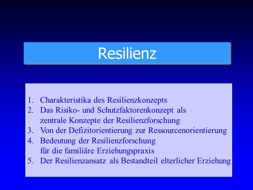 Resilienz 1.Charakteristika des Resilienzkonzepts 2. Das Risiko- und Schutzfaktorenkonzept als zentrale Konzepte der Resilienzforschung 3. Von der Def