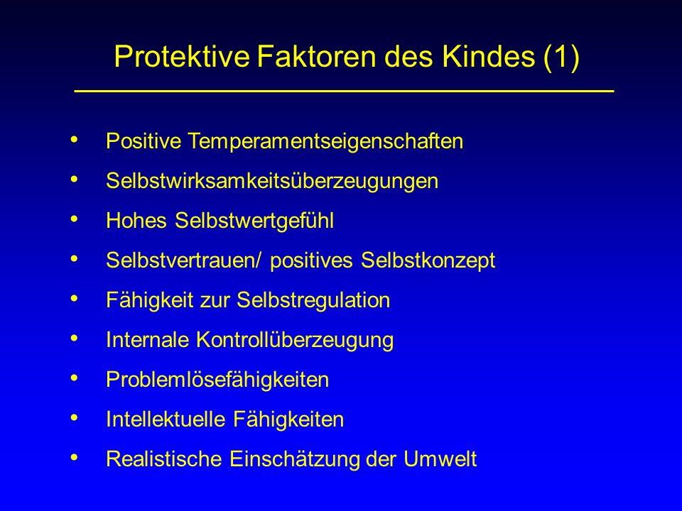 Protektive Faktoren des Kindes (1) Positive Temperamentseigenschaften Internale Kontrollüberzeugung Fähigkeit zur Selbstregulation Hohes Selbstwertgef