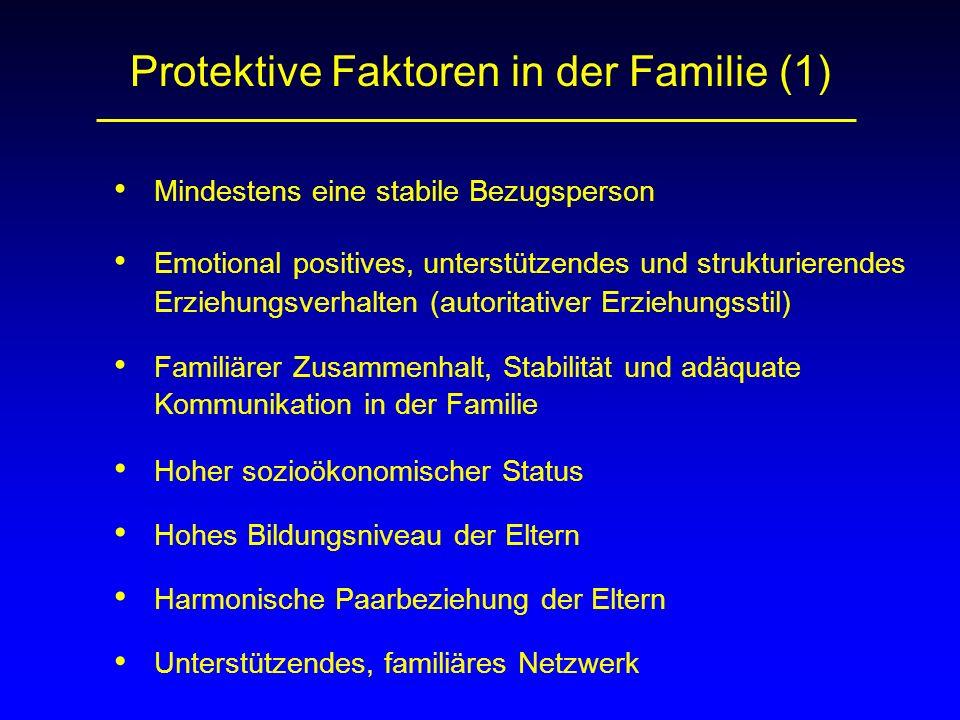 Protektive Faktoren in der Familie (1) Mindestens eine stabile Bezugsperson Emotional positives, unterstützendes und strukturierendes Erziehungsverhal