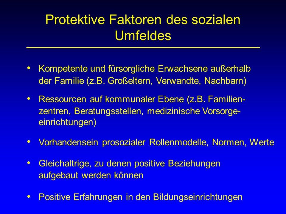 Protektive Faktoren des sozialen Umfeldes Kompetente und fürsorgliche Erwachsene außerhalb der Familie (z.B. Großeltern, Verwandte, Nachbarn) Ressourc