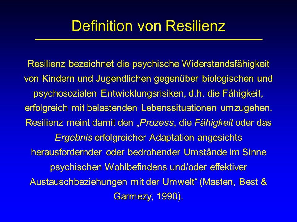 Definition von Resilienz Resilienz bezeichnet die psychische Widerstandsfähigkeit von Kindern und Jugendlichen gegenüber biologischen und psychosozial