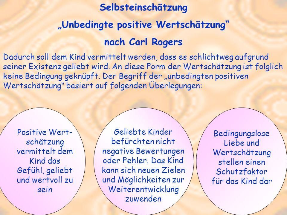 Selbsteinschätzung Unbedingte positive Wertschätzung nach Carl Rogers Dadurch soll dem Kind vermittelt werden, dass es schlichtweg aufgrund seiner Exi