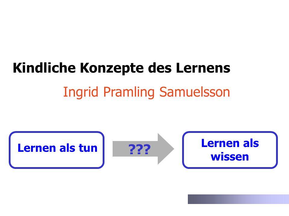Lernen als tun Lernen als wissen ??? Kindliche Konzepte des Lernens Ingrid Pramling Samuelsson
