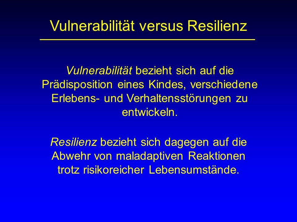 Vulnerabilität bezieht sich auf die Prädisposition eines Kindes, verschiedene Erlebens- und Verhaltensstörungen zu entwickeln. Resilienz bezieht sich