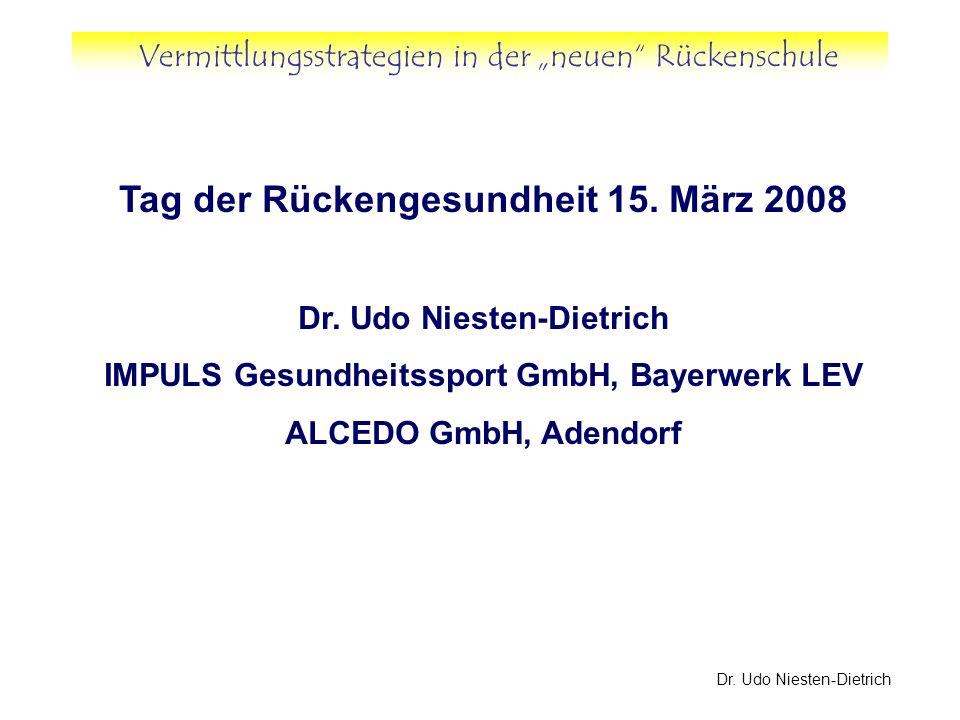 Vermittlungsstrategien in der neuen Rückenschule Dr. Udo Niesten-Dietrich Tag der Rückengesundheit 15. März 2008 Dr. Udo Niesten-Dietrich IMPULS Gesun