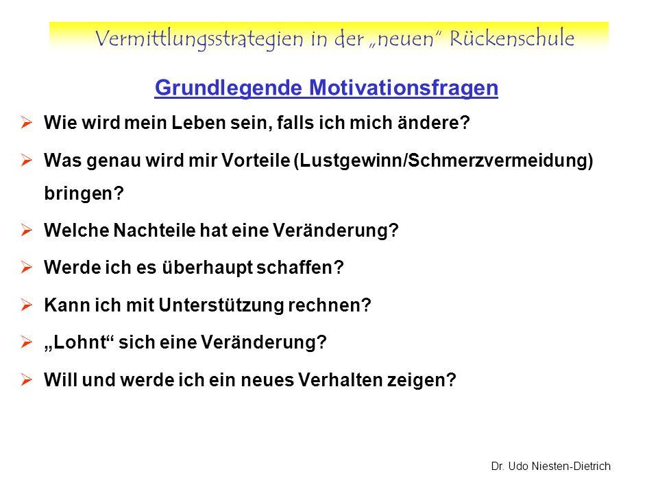 Vermittlungsstrategien in der neuen Rückenschule Dr. Udo Niesten-Dietrich Grundlegende Motivationsfragen Wie wird mein Leben sein, falls ich mich ände