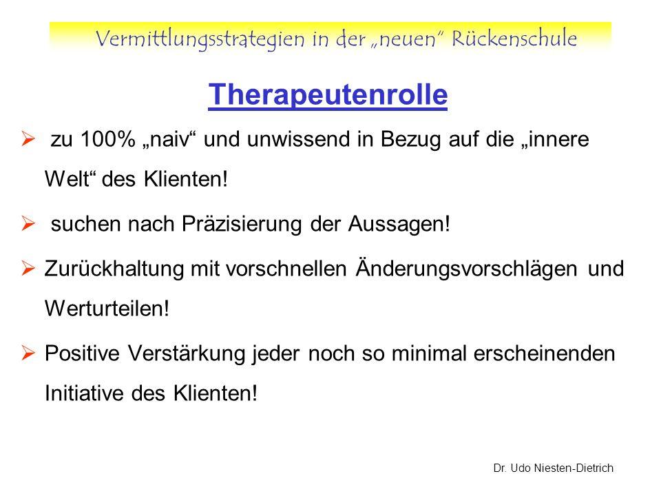Vermittlungsstrategien in der neuen Rückenschule Dr. Udo Niesten-Dietrich Therapeutenrolle zu 100% naiv und unwissend in Bezug auf die innere Welt des