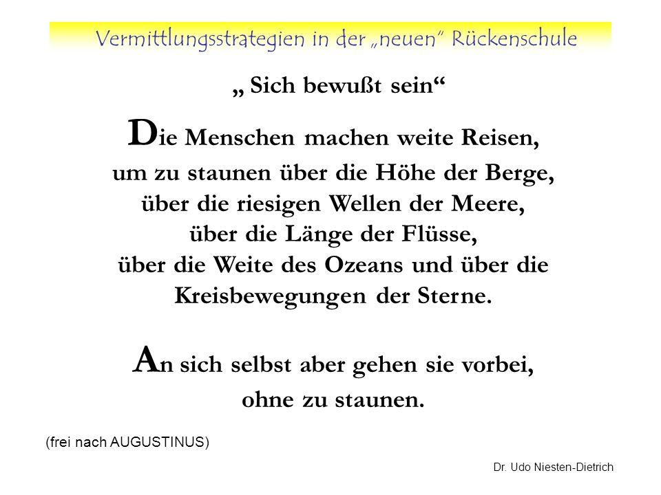 Vermittlungsstrategien in der neuen Rückenschule Dr. Udo Niesten-Dietrich Sich bewußt sein D ie Menschen machen weite Reisen, um zu staunen über die H