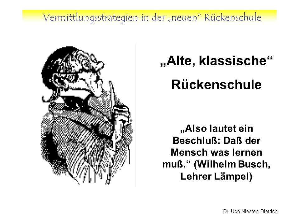 Vermittlungsstrategien in der neuen Rückenschule Dr. Udo Niesten-Dietrich Alte, klassische Rückenschule Also lautet ein Beschluß: Daß der Mensch was l