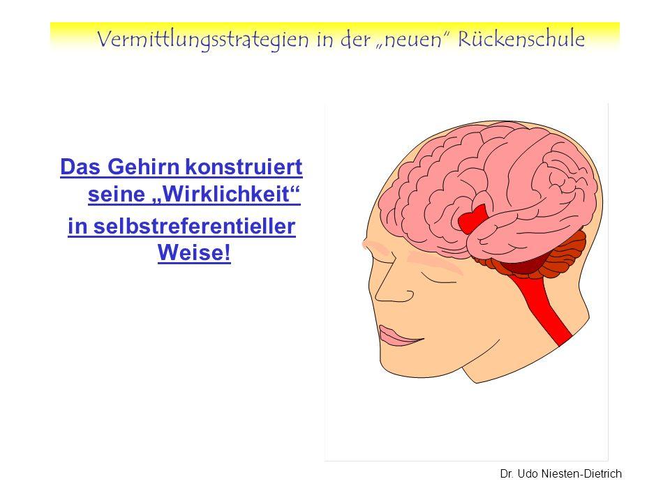 Vermittlungsstrategien in der neuen Rückenschule Dr. Udo Niesten-Dietrich Das Gehirn konstruiert seine Wirklichkeit in selbstreferentieller Weise!