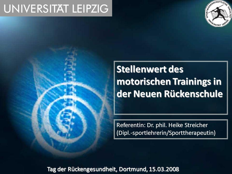 Stellenwert des motorischen Trainings in der Neuen Rückenschule Referentin: Dr. phil. Heike Streicher (Dipl.-sportlehrerin/Sporttherapeutin) Tag der R