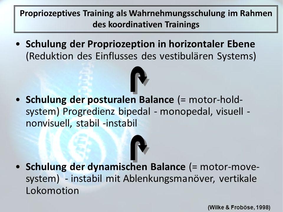 Propriozeptives Training als Wahrnehmungsschulung im Rahmen des koordinativen Trainings Schulung der Propriozeption in horizontaler Ebene (Reduktion d