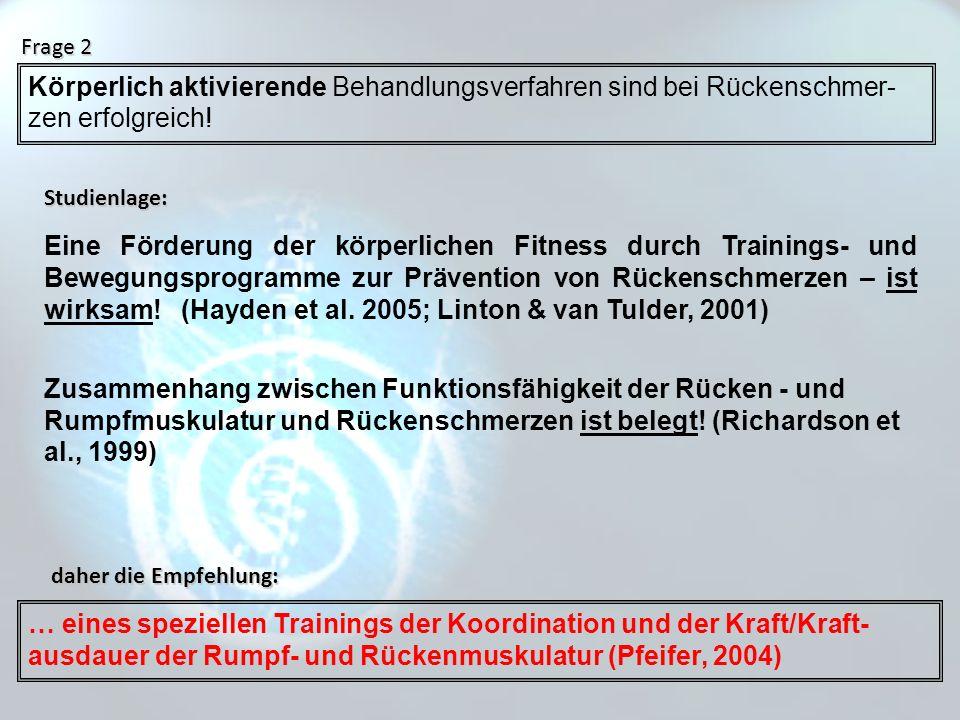 Eine Förderung der körperlichen Fitness durch Trainings- und Bewegungsprogramme zur Prävention von Rückenschmerzen – ist wirksam! (Hayden et al. 2005;