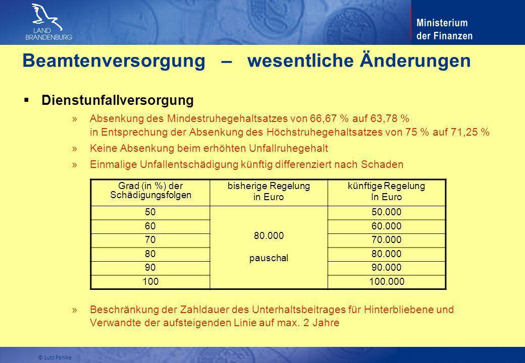 Dienstunfallversorgung » Absenkung des Mindestruhegehaltsatzes von 66,67 % auf 63,78 % in Entsprechung der Absenkung des Höchstruhegehaltsatzes von 75
