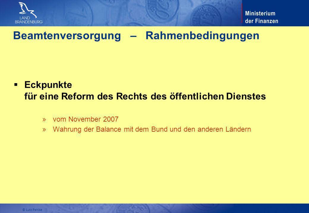 Beamtenversorgung – Rahmenbedingungen Eckpunkte für eine Reform des Rechts des öffentlichen Dienstes » vom November 2007 » Wahrung der Balance mit dem