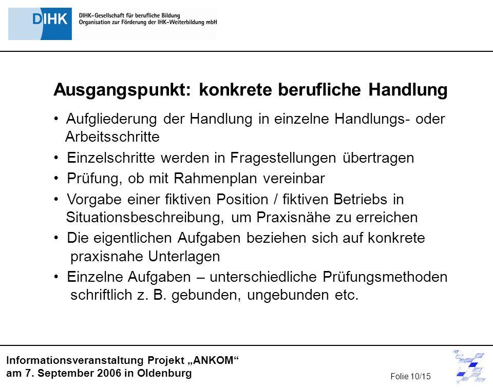 Informationsveranstaltung Projekt ANKOM am 7. September 2006 in Oldenburg Ausgangspunkt: konkrete berufliche Handlung Aufgliederung der Handlung in ei