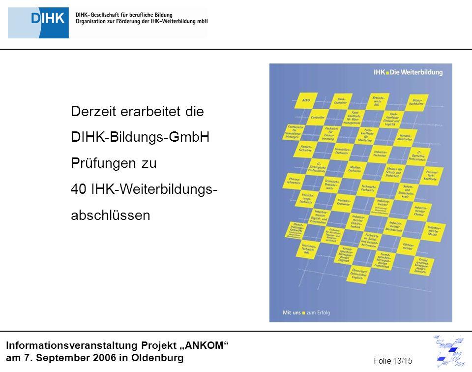 Informationsveranstaltung Projekt ANKOM am 7. September 2006 in Oldenburg Folie 13/15 Derzeit erarbeitet die DIHK-Bildungs-GmbH Prüfungen zu 40 IHK-We