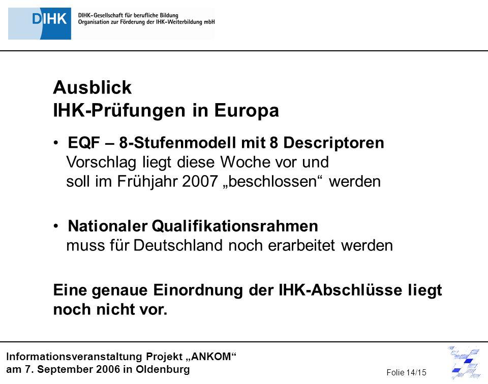 Informationsveranstaltung Projekt ANKOM am 7. September 2006 in Oldenburg Ausblick IHK-Prüfungen in Europa EQF – 8-Stufenmodell mit 8 Descriptoren Vor