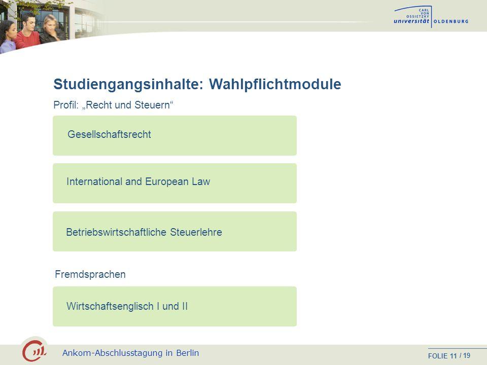 Ankom-Abschlusstagung in Berlin FOLIE / 19 10 Studiengangsinhalte: Wahlpflichtmodule Profil: Unternehmensführung und Controlling Unternehmensgründung,