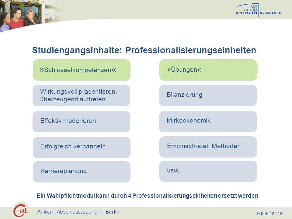 Ankom-Abschlusstagung in Berlin FOLIE / 19 11 Studiengangsinhalte: Wahlpflichtmodule Profil: Recht und Steuern Wirtschaftsenglisch I und II Gesellscha