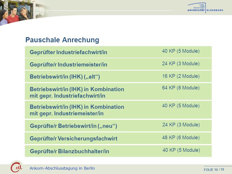 Ankom-Abschlusstagung in Berlin FOLIE / 19 15 Industriefachwirt/in Bachelor-Module Pflicht- vs.WahlpflichtmodulAbsatzwirtschaftBetriebl. Organisation