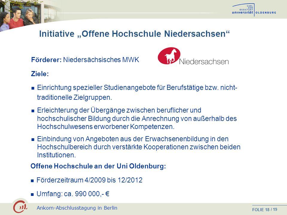 Ankom-Abschlusstagung in Berlin FOLIE / 19 17 Studiengang / Uni Informell erworbene Kenntnisse und Kompetenzen Beratung und Unterstützung bei der Erst