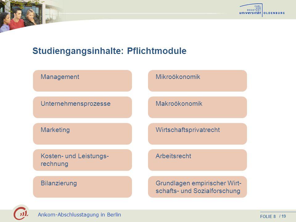 Ankom-Abschlusstagung in Berlin FOLIE / 19 7 Studienorganisation Berufsbegleitendes Teilzeitstudium, bestehend aus 21 Modulen, die in vier Jahren (8 S