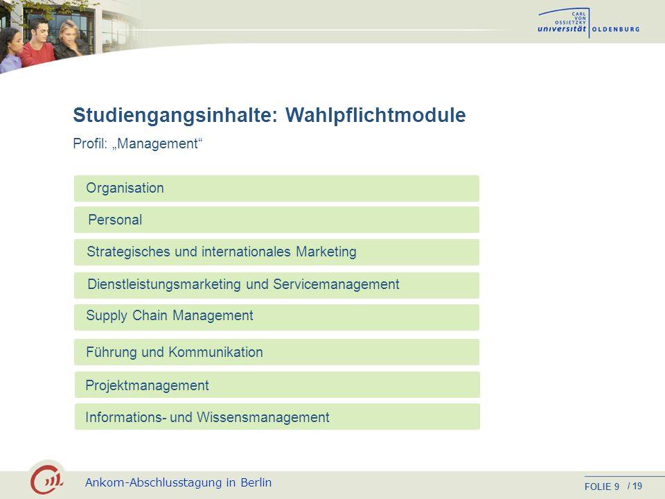 Ankom-Abschlusstagung in Berlin FOLIE / 19 8 Studiengangsinhalte: Pflichtmodule Management Unternehmensprozesse Marketing Kosten- und Leistungs- rechn