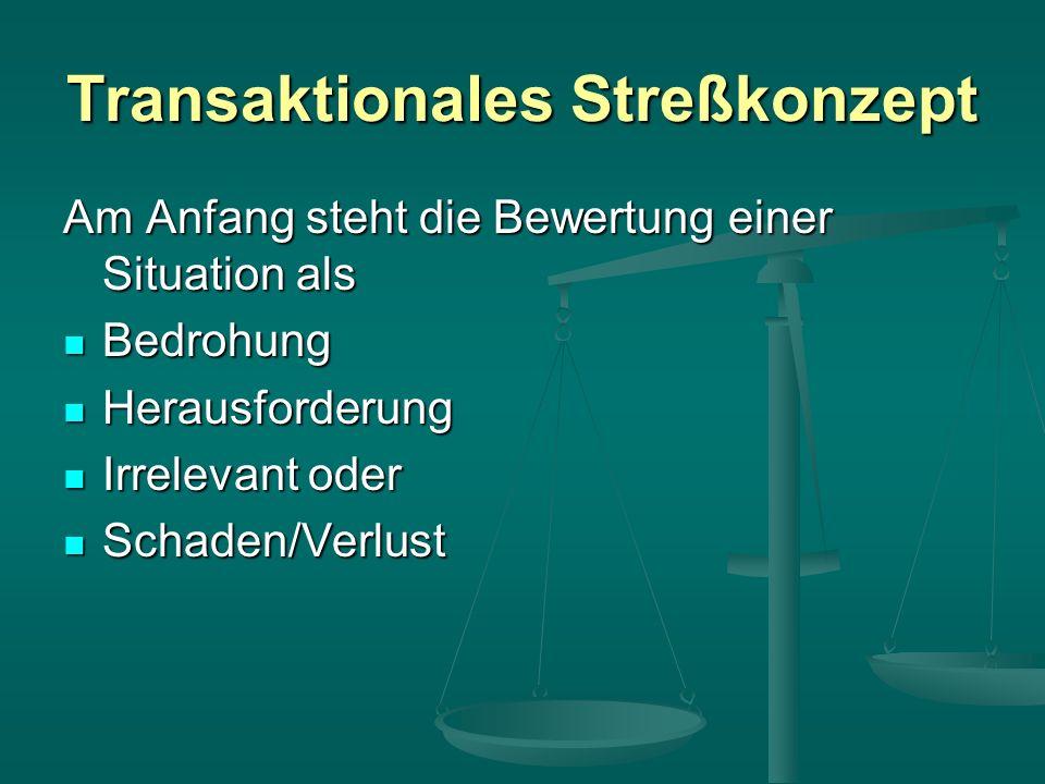 Transaktionales Streßkonzept Am Anfang steht die Bewertung einer Situation als Bedrohung Bedrohung Herausforderung Herausforderung Irrelevant oder Irrelevant oder Schaden/Verlust Schaden/Verlust