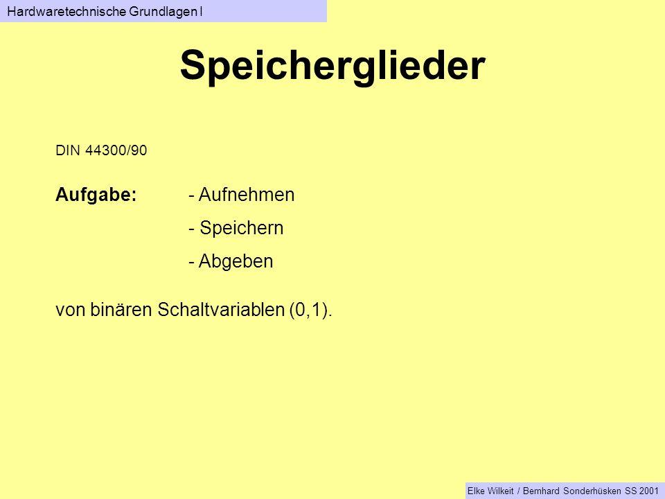 Speicherglieder Hardwaretechnische Grundlagen I Elke Wilkeit / Bernhard Sonderhüsken SS 2001 DIN 44300/90 Aufgabe:- Aufnehmen - Speichern - Abgeben von binären Schaltvariablen (0,1).