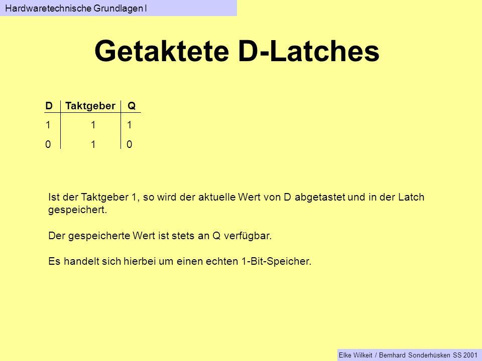 Getaktete D-Latches D Taktgeber Q 1 1 1 0 1 0 Ist der Taktgeber 1, so wird der aktuelle Wert von D abgetastet und in der Latch gespeichert.