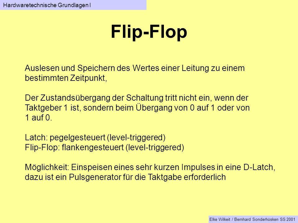 Flip-Flop Auslesen und Speichern des Wertes einer Leitung zu einem bestimmten Zeitpunkt, Der Zustandsübergang der Schaltung tritt nicht ein, wenn der Taktgeber 1 ist, sondern beim Übergang von 0 auf 1 oder von 1 auf 0.