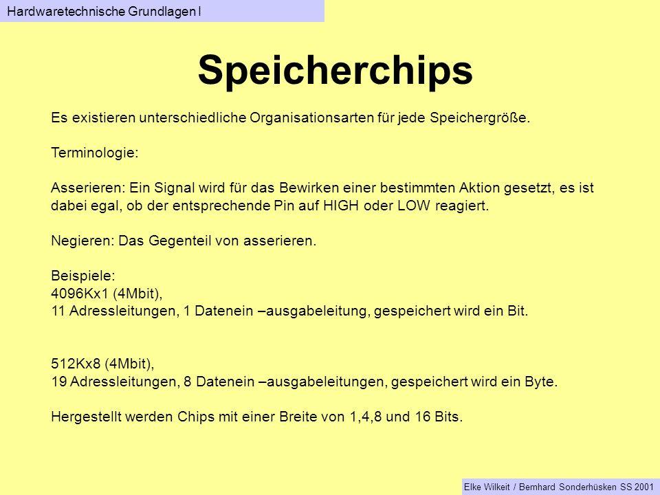 Speicherchips Hardwaretechnische Grundlagen I Elke Wilkeit / Bernhard Sonderhüsken SS 2001 Es existieren unterschiedliche Organisationsarten für jede Speichergröße.