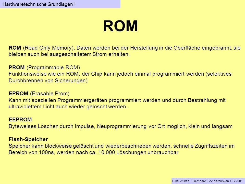 ROM ROM (Read Only Memory), Daten werden bei der Herstellung in die Oberfläche eingebrannt, sie bleiben auch bei ausgeschaltetem Strom erhalten.