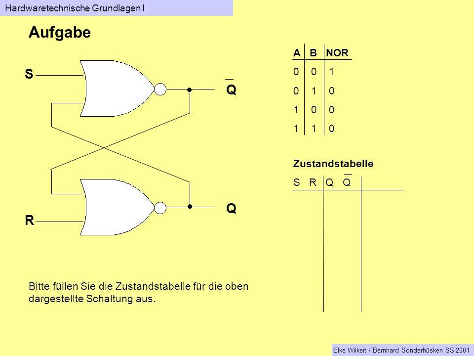 Q Q S R A B NOR 0 0 1 0 1 0 1 0 0 1 1 0 Zustandstabelle S R Q Q Aufgabe Bitte füllen Sie die Zustandstabelle für die oben dargestellte Schaltung aus.