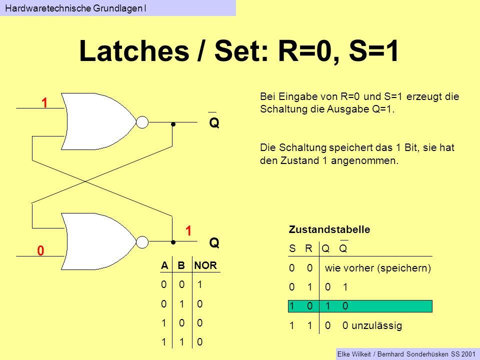 Q Q Bei Eingabe von R=0 und S=1 erzeugt die Schaltung die Ausgabe Q=1.