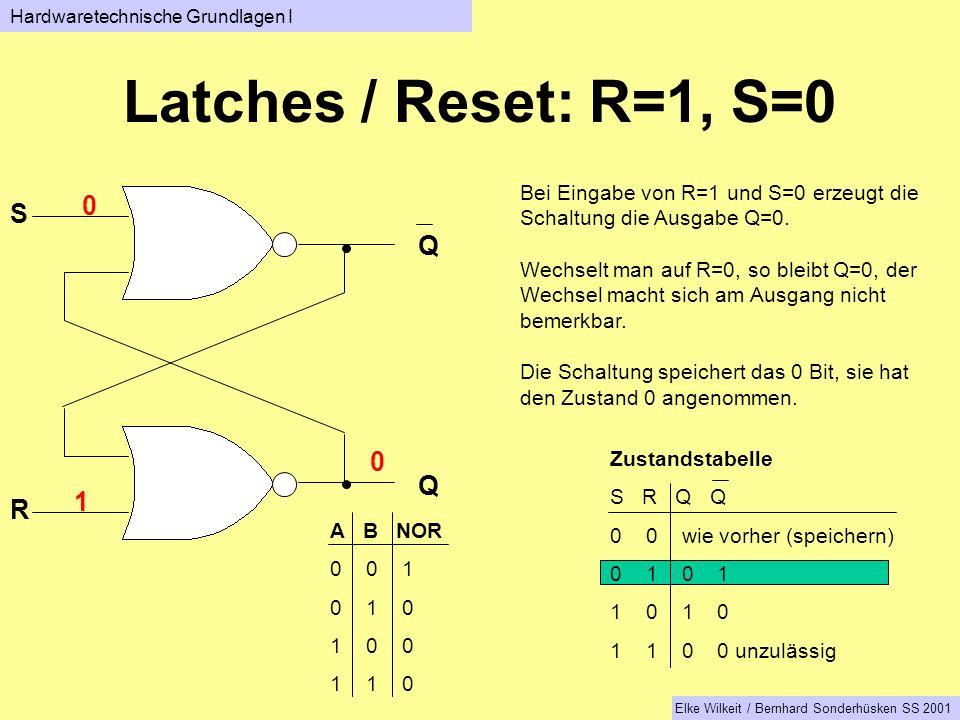 Q Q S R Bei Eingabe von R=1 und S=0 erzeugt die Schaltung die Ausgabe Q=0.