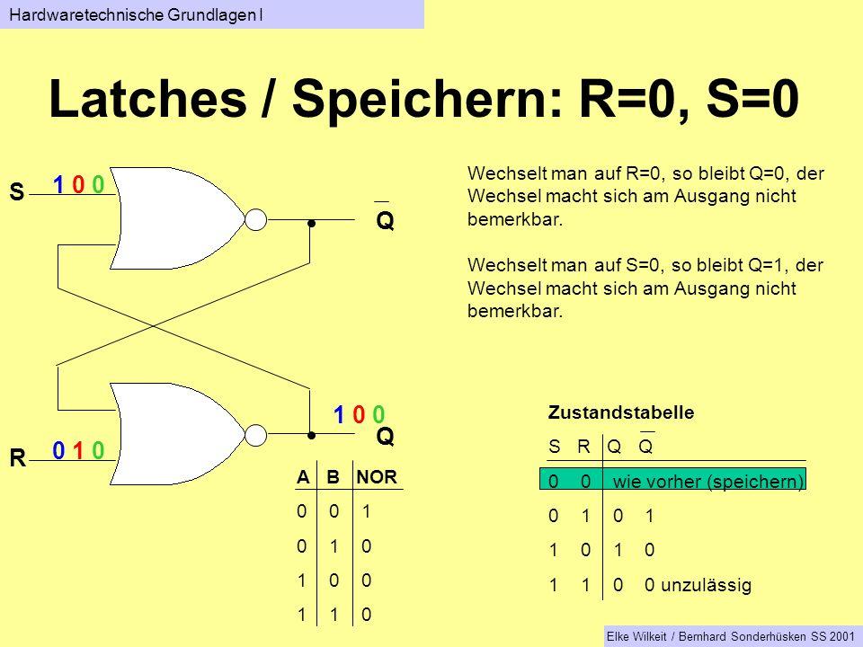 Latches / Speichern: R=0, S=0 Q Q S R Wechselt man auf R=0, so bleibt Q=0, der Wechsel macht sich am Ausgang nicht bemerkbar.