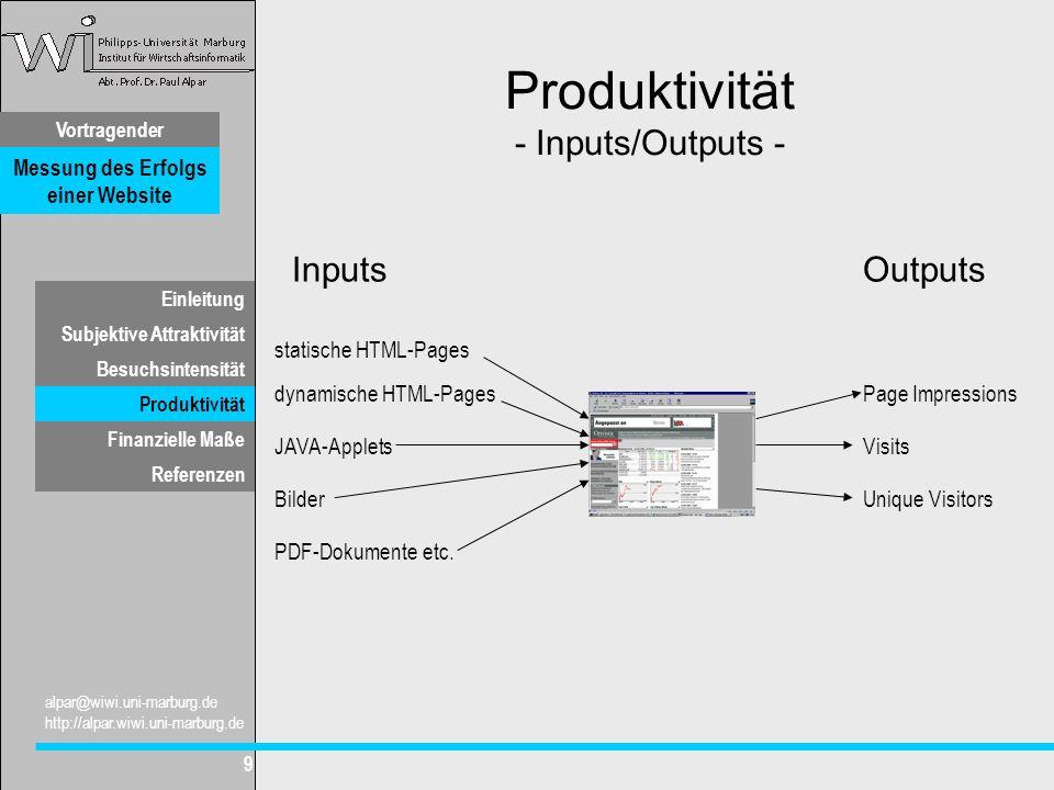 Vortragender Messung des Erfolgs einer Website Subjektive Attraktivität Besuchsintensität Produktivität Finanzielle Maße alpar@wiwi.uni-marburg.de http://alpar.wiwi.uni-marburg.de 9 Einleitung Referenzen Produktivität - Inputs/Outputs - InputsOutputs statische HTML-Pages dynamische HTML-Pages JAVA-Applets PDF-Dokumente etc.