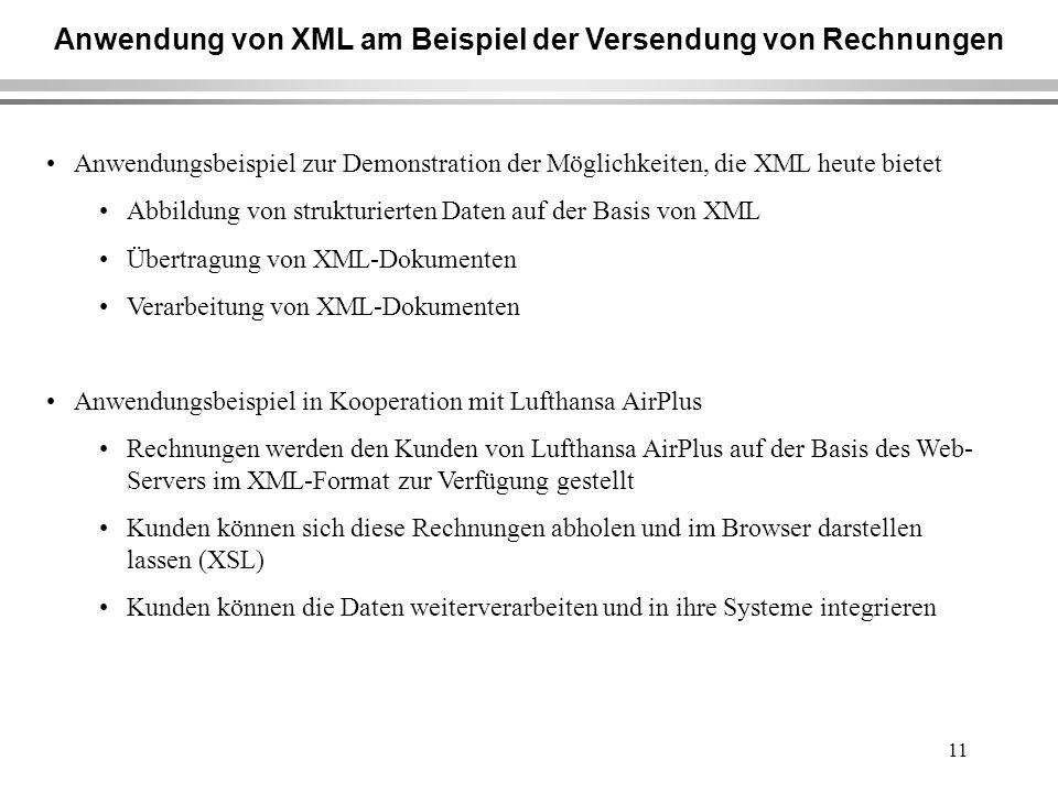 11 Anwendung von XML am Beispiel der Versendung von Rechnungen Anwendungsbeispiel zur Demonstration der Möglichkeiten, die XML heute bietet Abbildung von strukturierten Daten auf der Basis von XML Übertragung von XML-Dokumenten Verarbeitung von XML-Dokumenten Anwendungsbeispiel in Kooperation mit Lufthansa AirPlus Rechnungen werden den Kunden von Lufthansa AirPlus auf der Basis des Web- Servers im XML-Format zur Verfügung gestellt Kunden können sich diese Rechnungen abholen und im Browser darstellen lassen (XSL) Kunden können die Daten weiterverarbeiten und in ihre Systeme integrieren