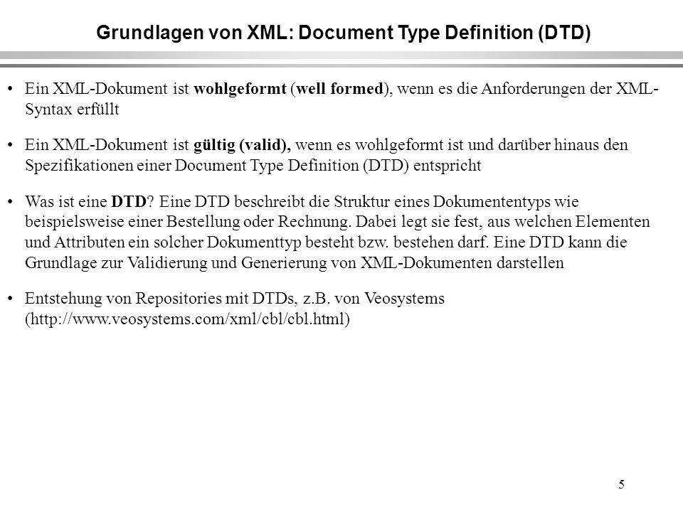 5 Grundlagen von XML: Document Type Definition (DTD) Ein XML-Dokument ist wohlgeformt (well formed), wenn es die Anforderungen der XML- Syntax erfüllt Ein XML-Dokument ist gültig (valid), wenn es wohlgeformt ist und darüber hinaus den Spezifikationen einer Document Type Definition (DTD) entspricht Was ist eine DTD.